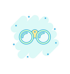 cartoon binocular icon in comic style binoculars vector image