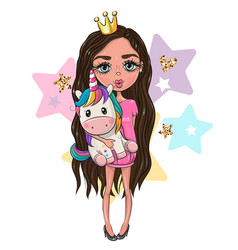 Cartoon girl princess in a pink dress with unicorn vector