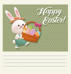 Cartoon happy easter bunny basket egg vector