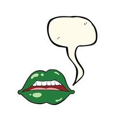 cartoon sexy halloween lips symbol with speech vector image