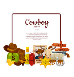 cartoon wild west elements with place for vector image