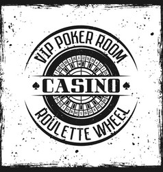 casino round badge with roulette wheel vector image