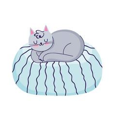 cat sleeping on cushion cartoon isolated icon vector image