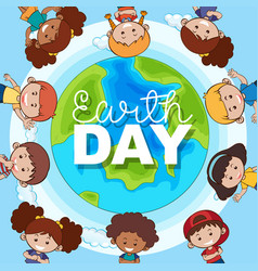 children with earth vector image