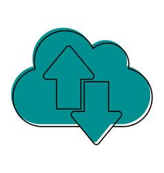 cloud with download arrow icon image vector image