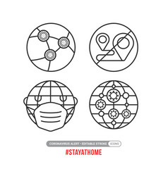 creative stay at home icons sign to stop vector image