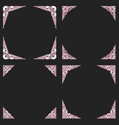Curved stone mosaic corner design set vector
