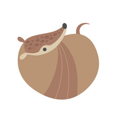 cute armadillo curled up and resting adorable vector image
