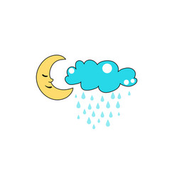cute cloud and moon character design rain vector image
