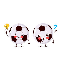 cute football ball with question mark vector image