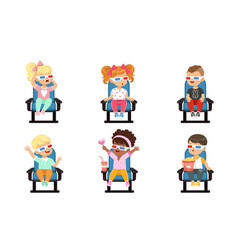 Cute kids watching movie with 3d glasses vector