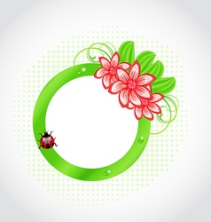 Cute spring label with flower leaves lady-beetle vector image