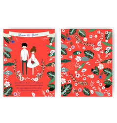 cute sweet couple and pink floral flower in red vector image