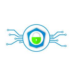 cybersecurity design lock symbol vector image