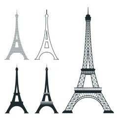 Different eiffel tower landmark set vector