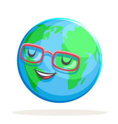 ecology happy emotion nature earth globe character vector image