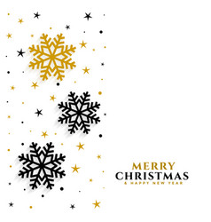 elegant gold and black snowflakes white background vector image