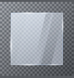 empty glass banner glossy frame template vector image