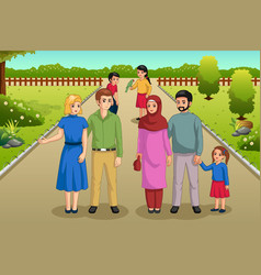 Families enjoying the park outdoors vector