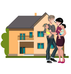 family standing outside new home vector image