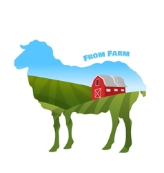 Farm landscape inside sheep silhouette Concept of vector image