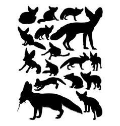 fennec fox animal silhouettes vector image