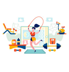 fitness woman online trainer healthy lifestyle vector image