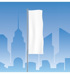 Flag waving on a city background vector