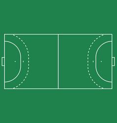 Flat handball field green grass field with line vector