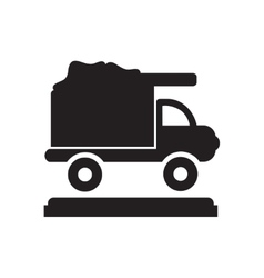 Flat icon in black and white garbage truck vector