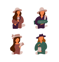 Flight set of girls who go on a trip vector