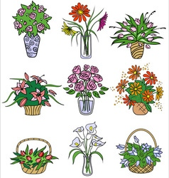 Flower bouqets in vases vector