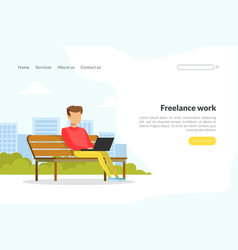 freelance work landing page template young man vector image