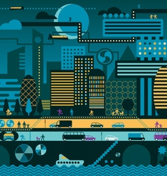 Future city night vector