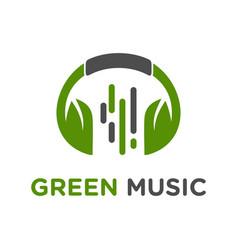 green headset music logo design vector image