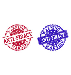 Grunge scratched anti-piracy warning seal stamps vector