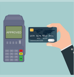 Hand holding credit card near pos terminal vector