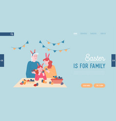 Happy family prepare for easter celebration vector