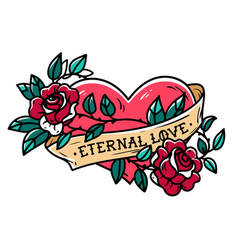 Heart entwined in climbing rose tattoo old school vector