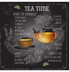 Herbal Tea Time card with cup teapot Mint vector