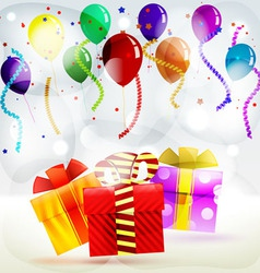 Holiday gifts in boxes of balloons and streamers vector