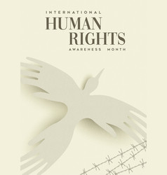 Human rights greeting card of people hand bird vector