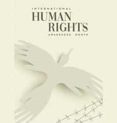 Human rights greeting card people hand bird vector