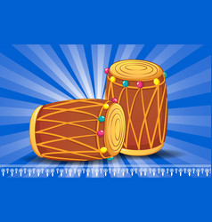 Indian drums concept banner cartoon style vector