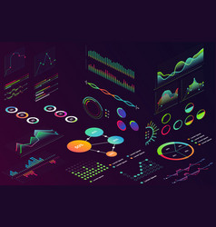isometric modern neon color style data finance vector image