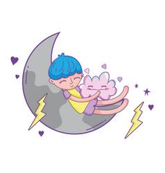 kid dreaming at sky cartoon vector image