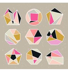 Line shapes crystal geometry Diamonds design vector image