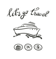 Liner ship lets go to travel vector