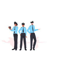 male police officers standing together policemen vector image
