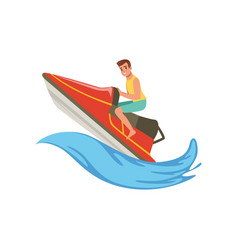 Man on a red water bike jumping over the waves vector